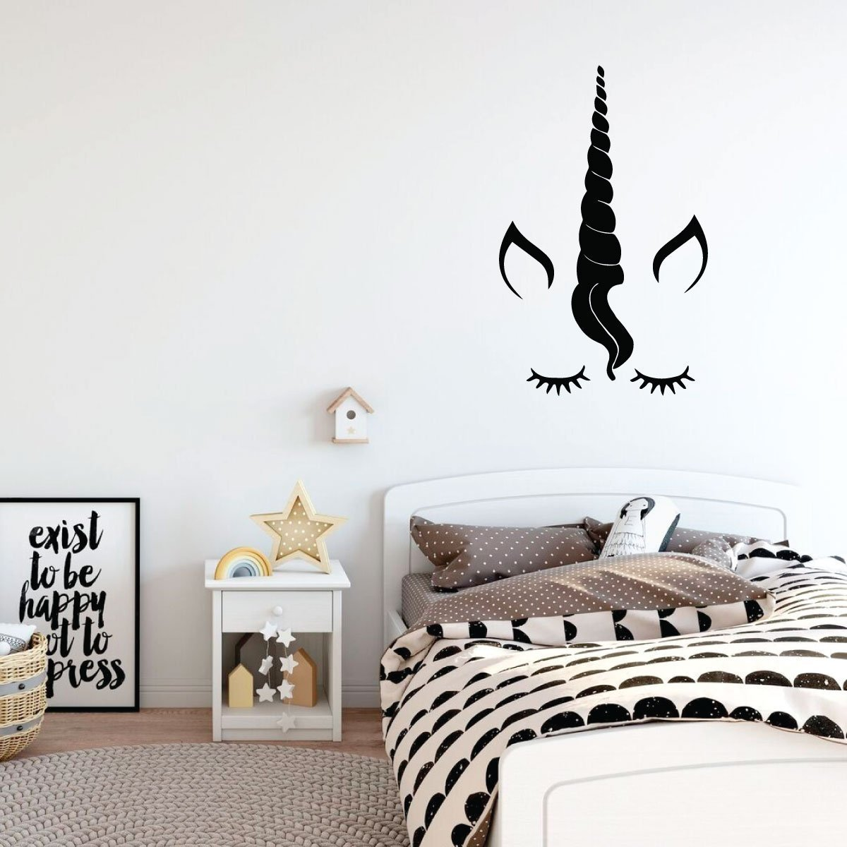 Unicorn Wall Decor - Eyelashes Vinyl Decal Personalized For Girl's Bedroom, Playroom or Bathroom - Kids Home Decorations