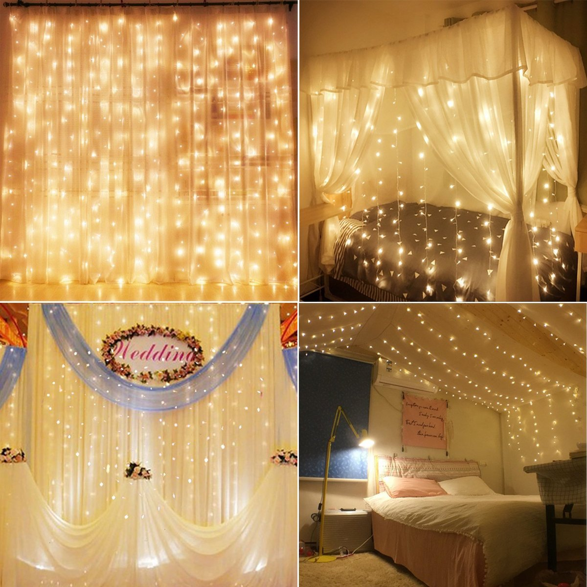 Decute Curtain Lights, 9.8 X 9.8ft 306 LED Starry Fairy Icicle Light For Wedding, Bedroom, Bed Canopy, Garden, Patio, Outdoor Indoor (Warm white) (Warm Curtain Lights)