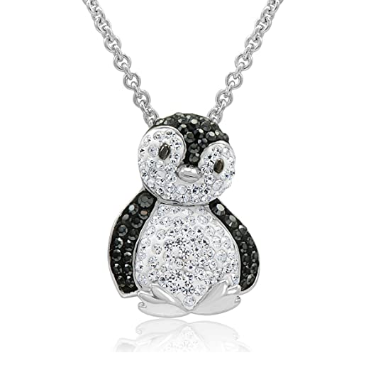 Amazon sterling silver black and white penguin pendant necklace sterling silver black and white penguin pendant necklace with swarovski crystals mozeypictures Images