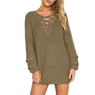 Women s Pullover Sweater Dress Cashmere Oversized V-Neck Sexy Knit Tops  Khaki M 90395a02e