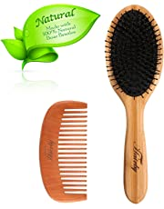 Boar Bristle Hair Brush - HAIRBY Natural Nylon Bristle Hair Brush Comb Set for Women Men and Kids, Ova Bamboo Paddle Hair Brush for Thin Thick Natural Hair, Massage Scalp, Distribute Natural Oil