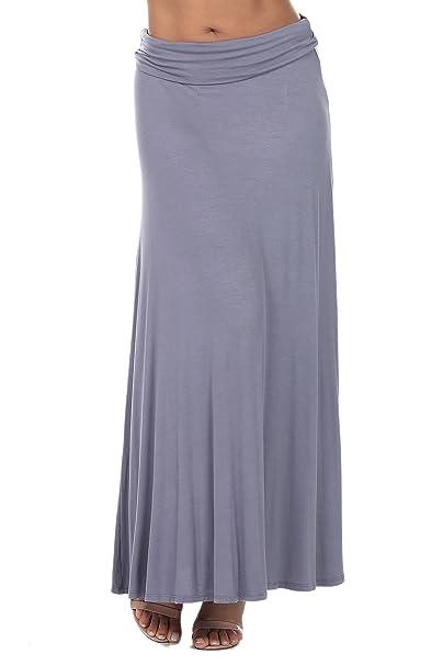 8da138306c1 Nolabel  B7 003 Womens Lightweight Flowy Floor Length Maxi Skirt with Fold  Over Wide Waistband Grey