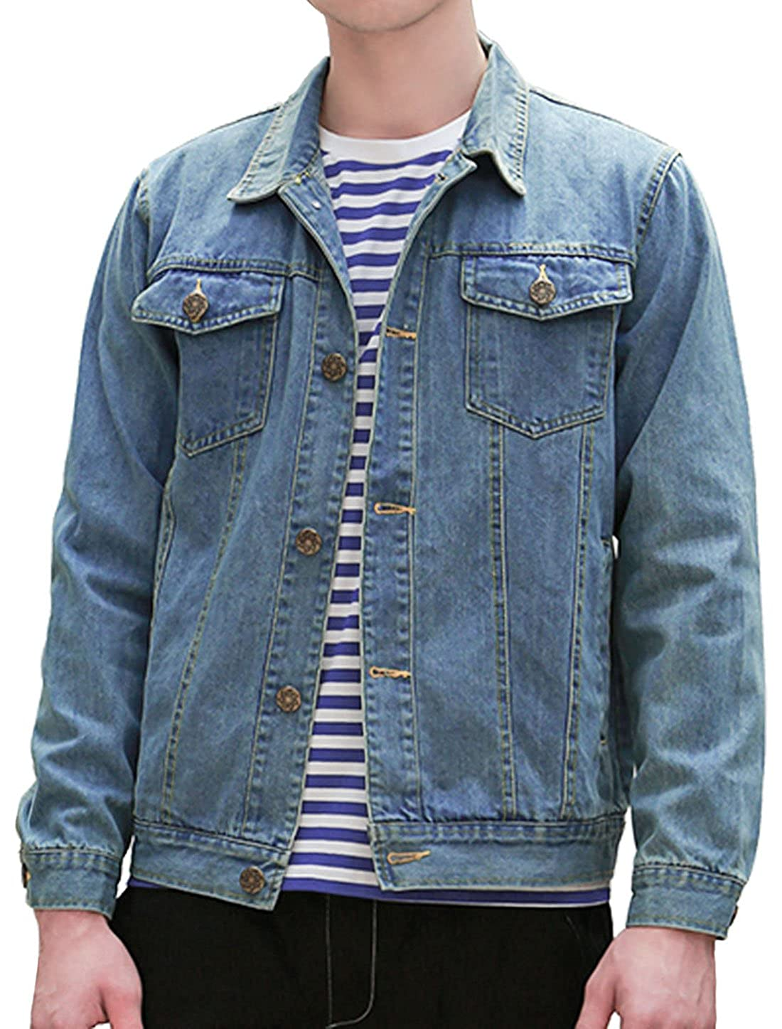 uxcell Men Single Breast Flap Pocket Long Sleeves Washed Classic Denim Jacket g17030100ux0048