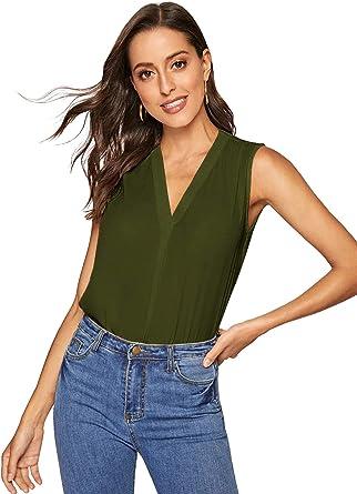 Women/'s Summer Sleeveless Loose Button Printed V-neck Chiffon Tank Tops Blouse