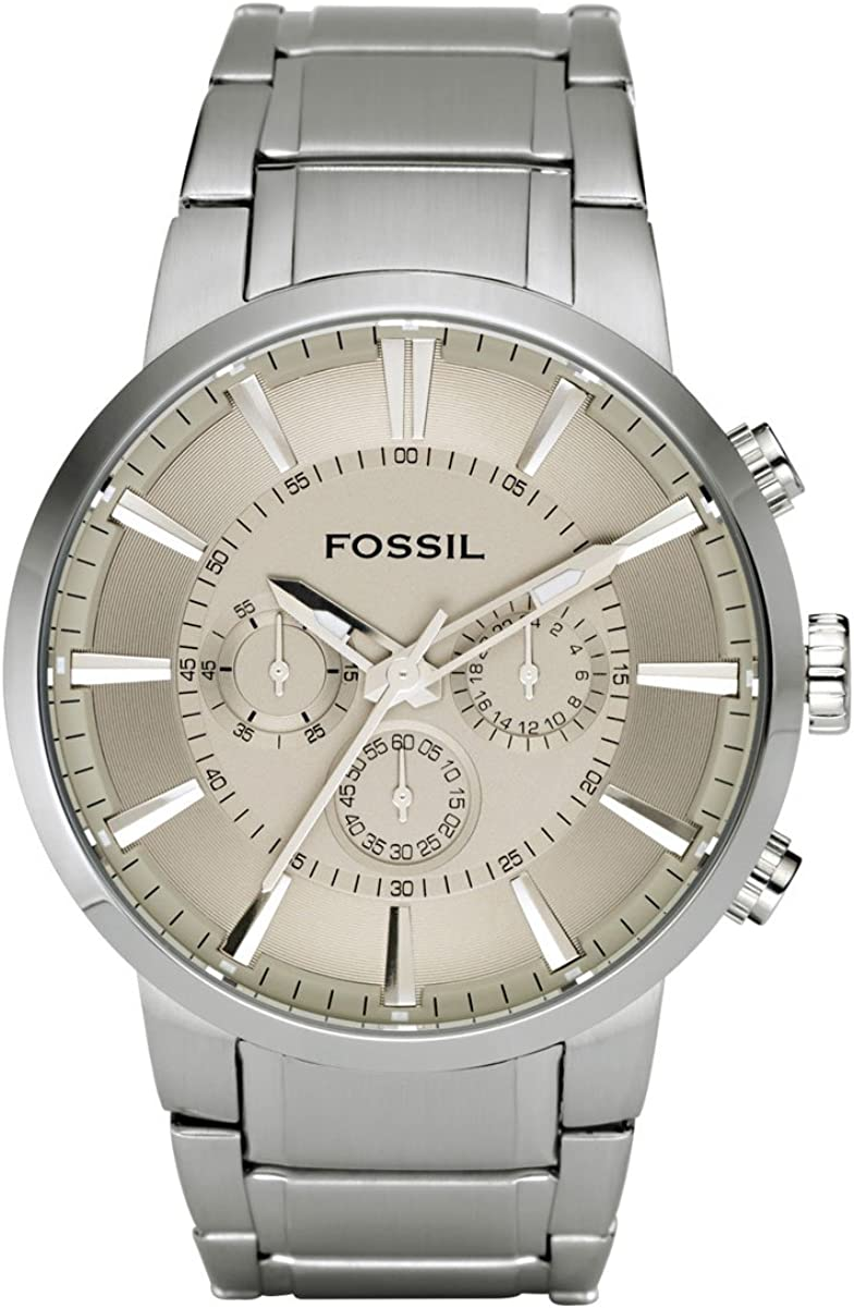 Amazon Com Fossil Men S Fs4359 Stainless Steel Bracelet Silver Analog Dial Chronograph Watch Fossil Watches