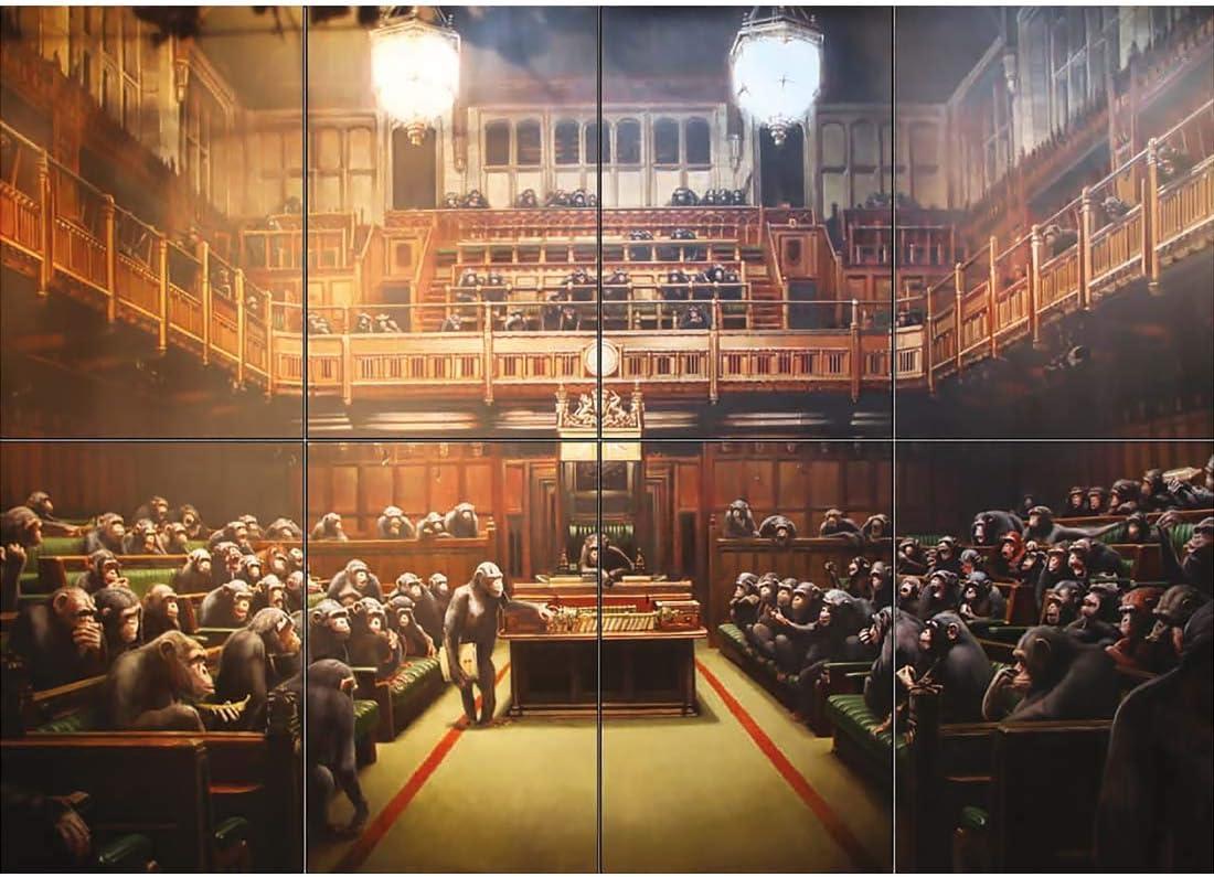 Banksy Parliament Monkeys Chimps Print Box Canvas Art Picture Grey Black /& White