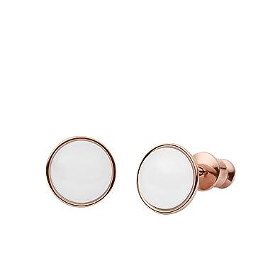 Skagen Pendientes de mujer con acero inoxidable, vidrio blanco redondo