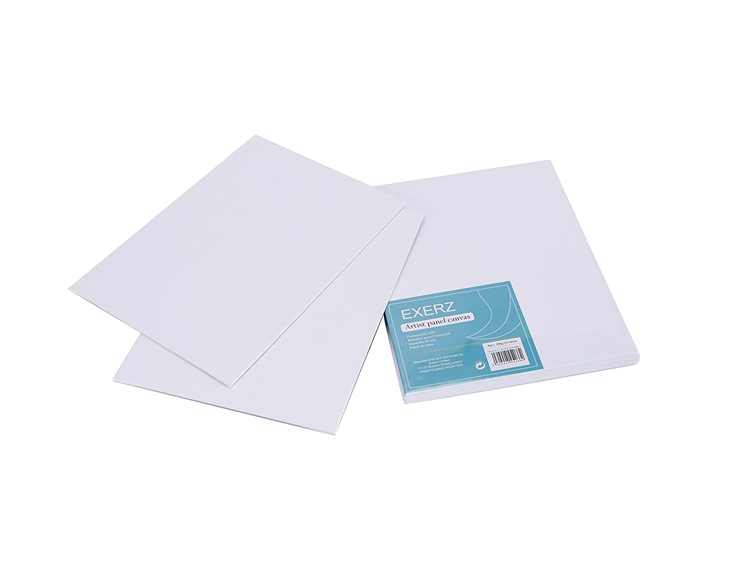 Exerz E5310-2025-12 Artist Canvas Panel 12 Pack 0.3cm Thick 25 x 20 cm 280GSM// Pre-Stretched 100/% Cotton//Blank//Triple Primed//Acid Free//Medium Grain