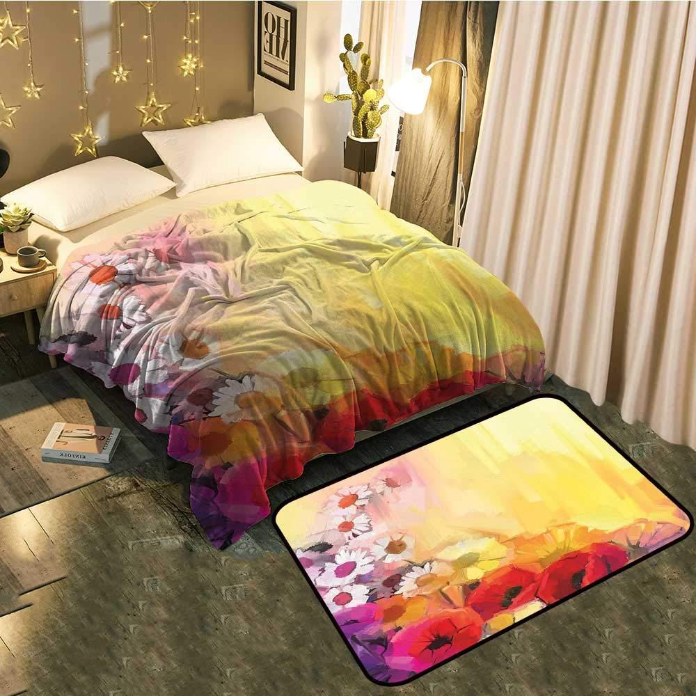 color07 Blanket 60 x63  Mat 24 x40  Blanket Floor mat Two-pieceDandelion Seeds in Air Splashes Pollination Time Mother Earth Print Better Deeper Sleep Blanket 60 x78  Mat 5'X8'