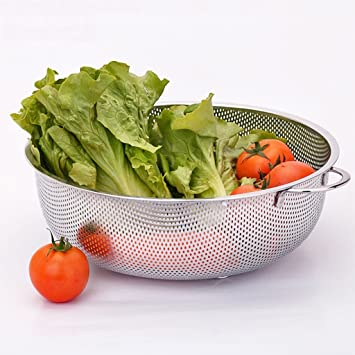 Addin Cesta de Fruta Moderna Minimalista Metal Durable Storage Snack Tray para la Cocina casera Que Lava el arroz Plato Fruit Drain Tray: Amazon.es: Hogar