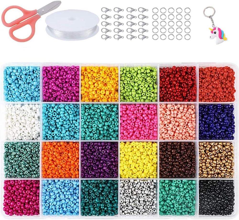 Cuentas de cristal para semillas, pequeñas cuentas de poni, varios colores opacos, para hacer joyas, encontrar arte, manualidades, decoración de bricolaje (24 colores 4 mm)
