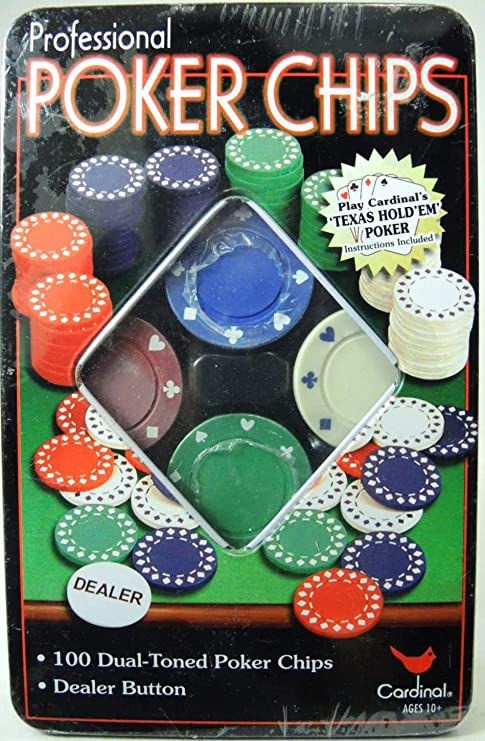 100 Dual-Toned Professional Poker Chips and Dealer Button in a Tin New
