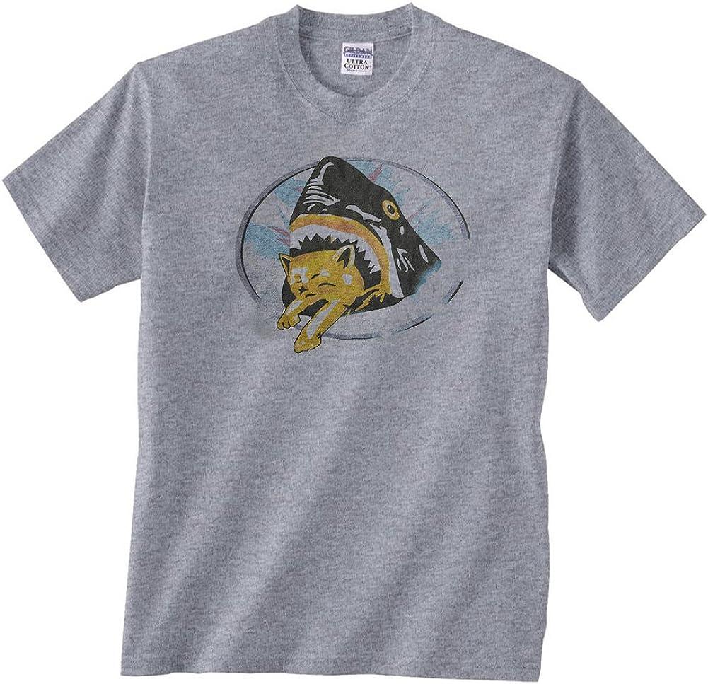 DirtyRagz Men's Shark Eating Kitten Cat T-Shirt