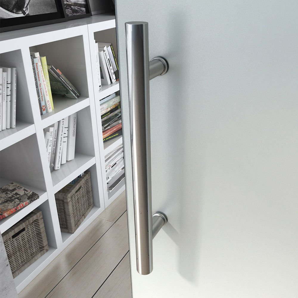 Fully Frosted Durovin 900mm Safety Glass Interior Sliding Door Include Hardware Track Kit with Soft Close Round Handle