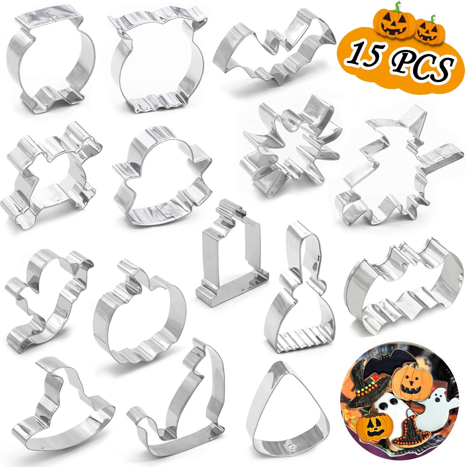 15PCS Halloween Cookie Cutters - Pumpkin,Witch,Bat,Ghost,Cat,Tombstone,Spider, Skull,Candy Corn, Owl,Hat,Cauldron,Broom Party Decorations Trick or Treat Supplies