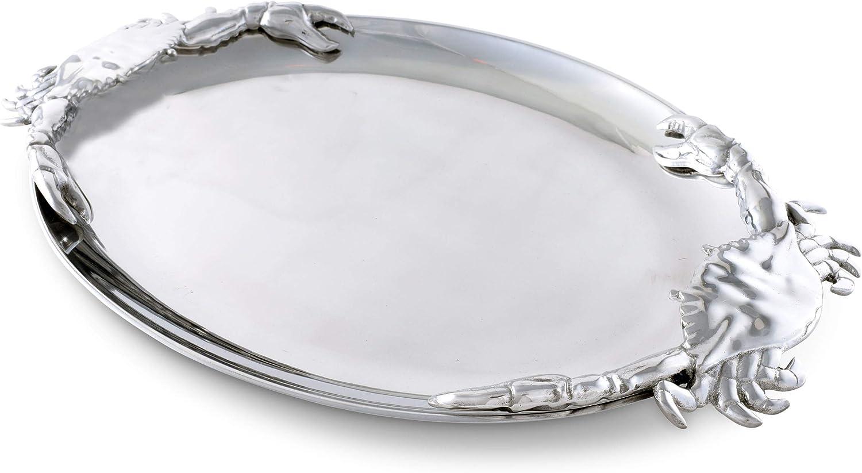 "Arthur Court Designs Aluminum Crab Oval Platter 20"" x 13.5"""