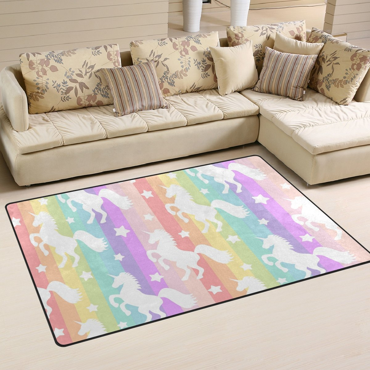 WellLee Area Rug,Cute Unicorns Silhouette On Rainbow Striped Pattern Floor Rug Non-Slip Doormat for Living Dining Dorm Room Bedroom Decor 60x39 inch