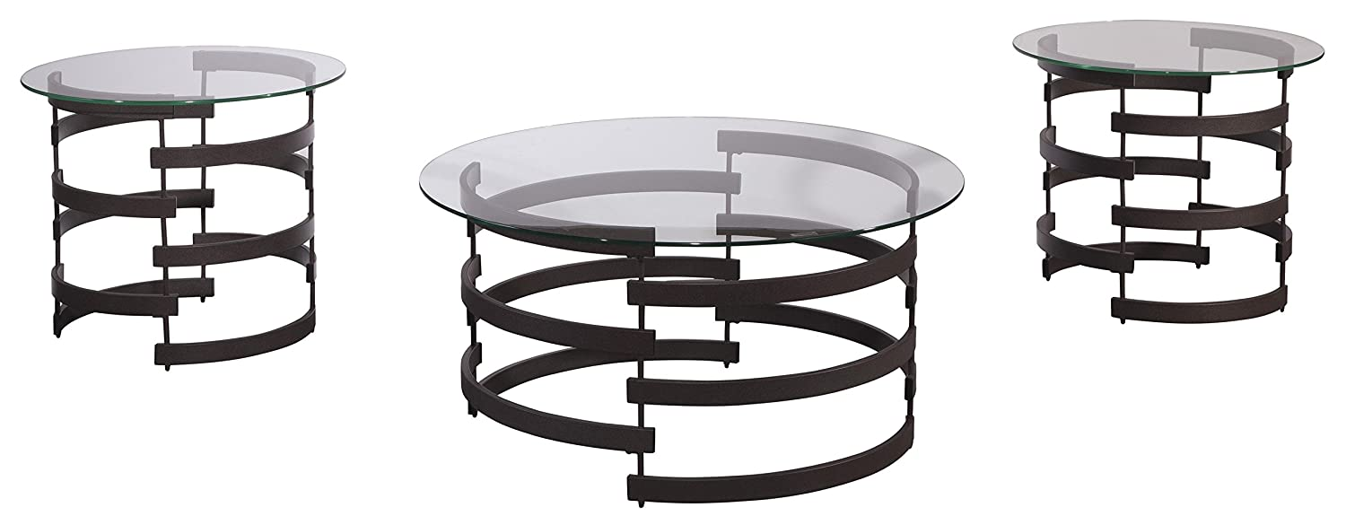 Amazon.com Ashley Furniture Signature Design - Kaymine Occasional Table Set - Contemporary - Set of 3 - Black Kitchen u0026 Dining  sc 1 st  Amazon.com : 3 piece black coffee table sets - Pezcame.Com