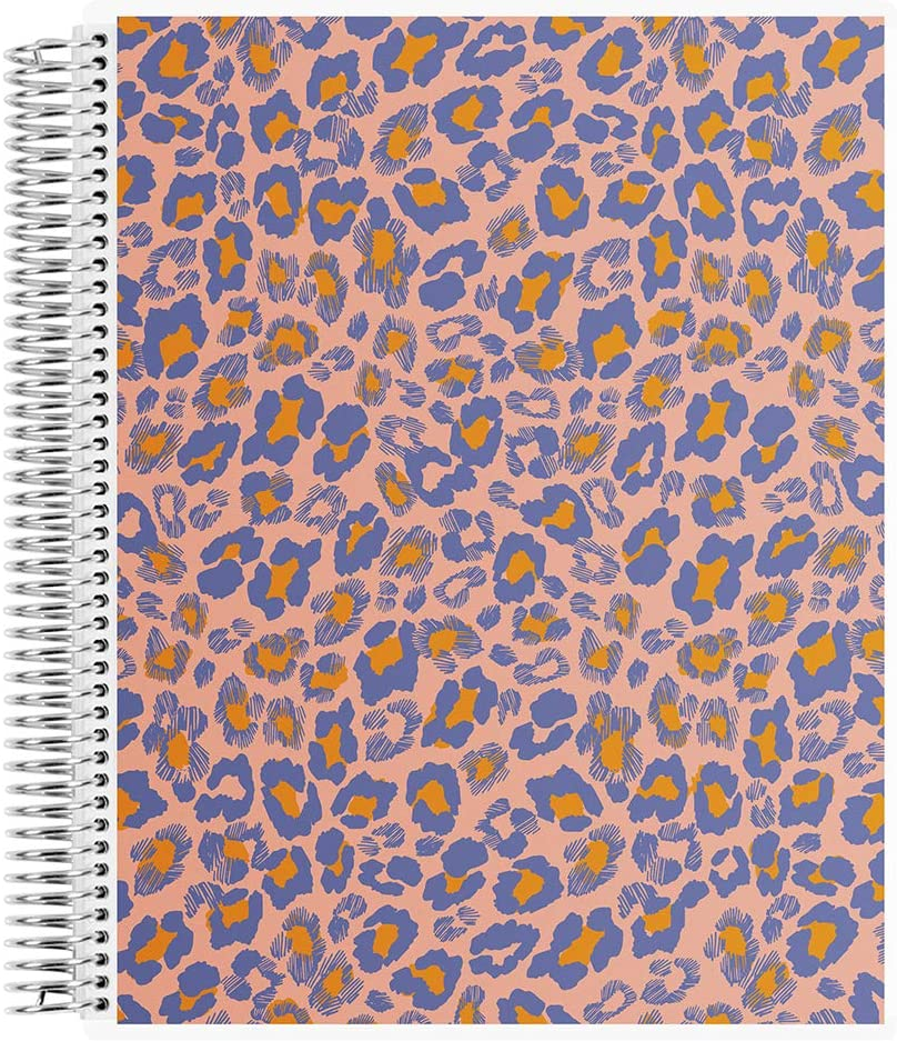 Erin Condren Leopard Lined Coiled Notebook - 8.5x11 - for Taking Notes and Making Lists - with Thick Paper, Interchangeable Cover, Functional Stickers Included