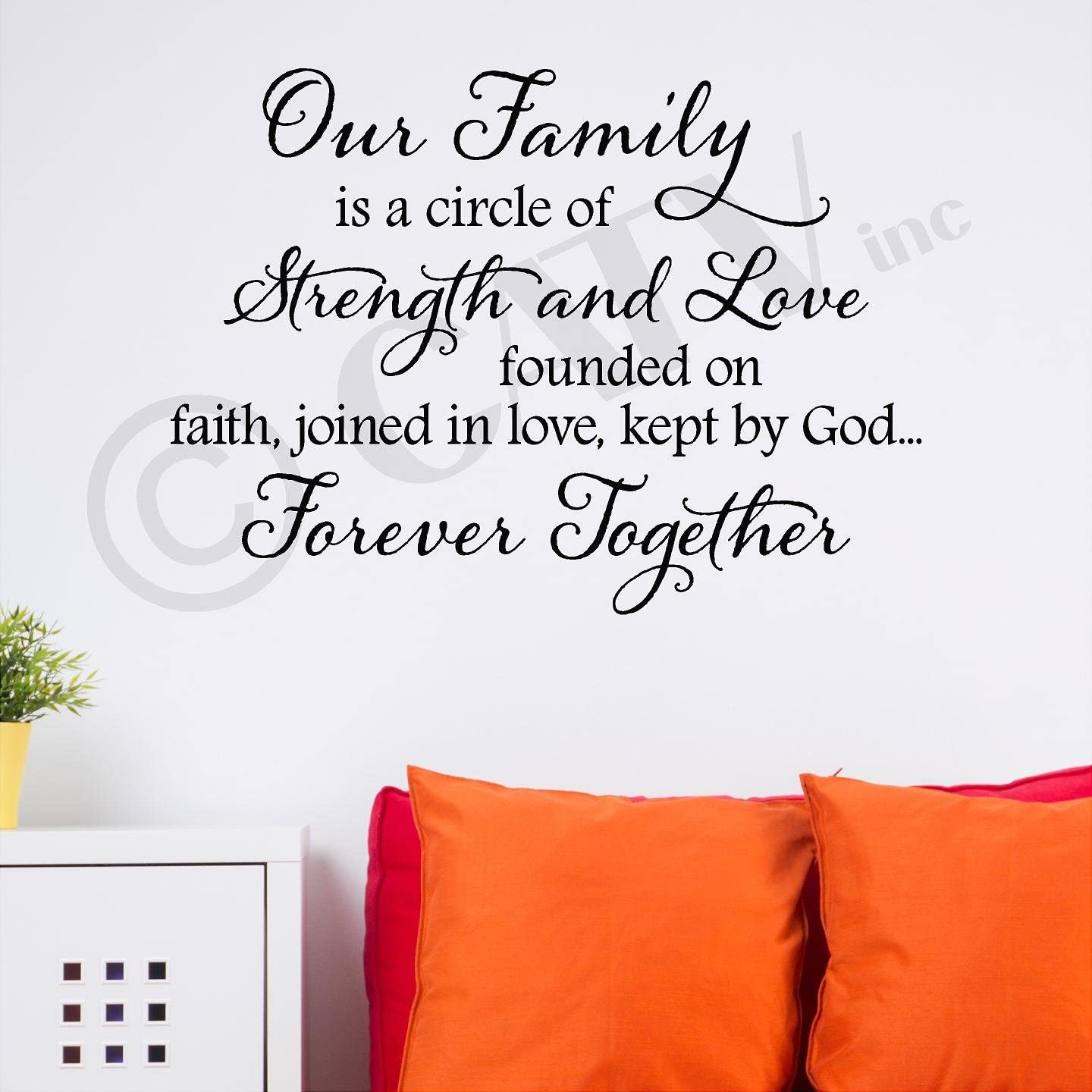 """Our Family is a Circle of Strength and Love Founded on Faith, Joined in Love, Kept by God.Forever Together Vinyl Lettering Wall Decal (16""""H x 22""""W, Black)"""