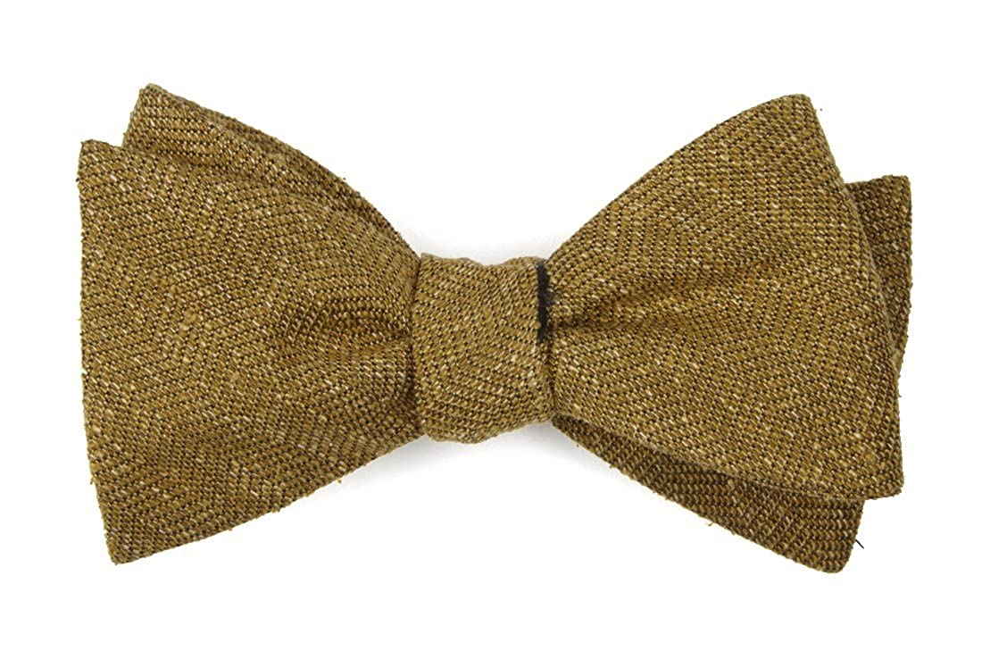 The Tie Bar 100/% Spun Silk Threaded Zig-zag Mustard Self-Tie Bow Tie