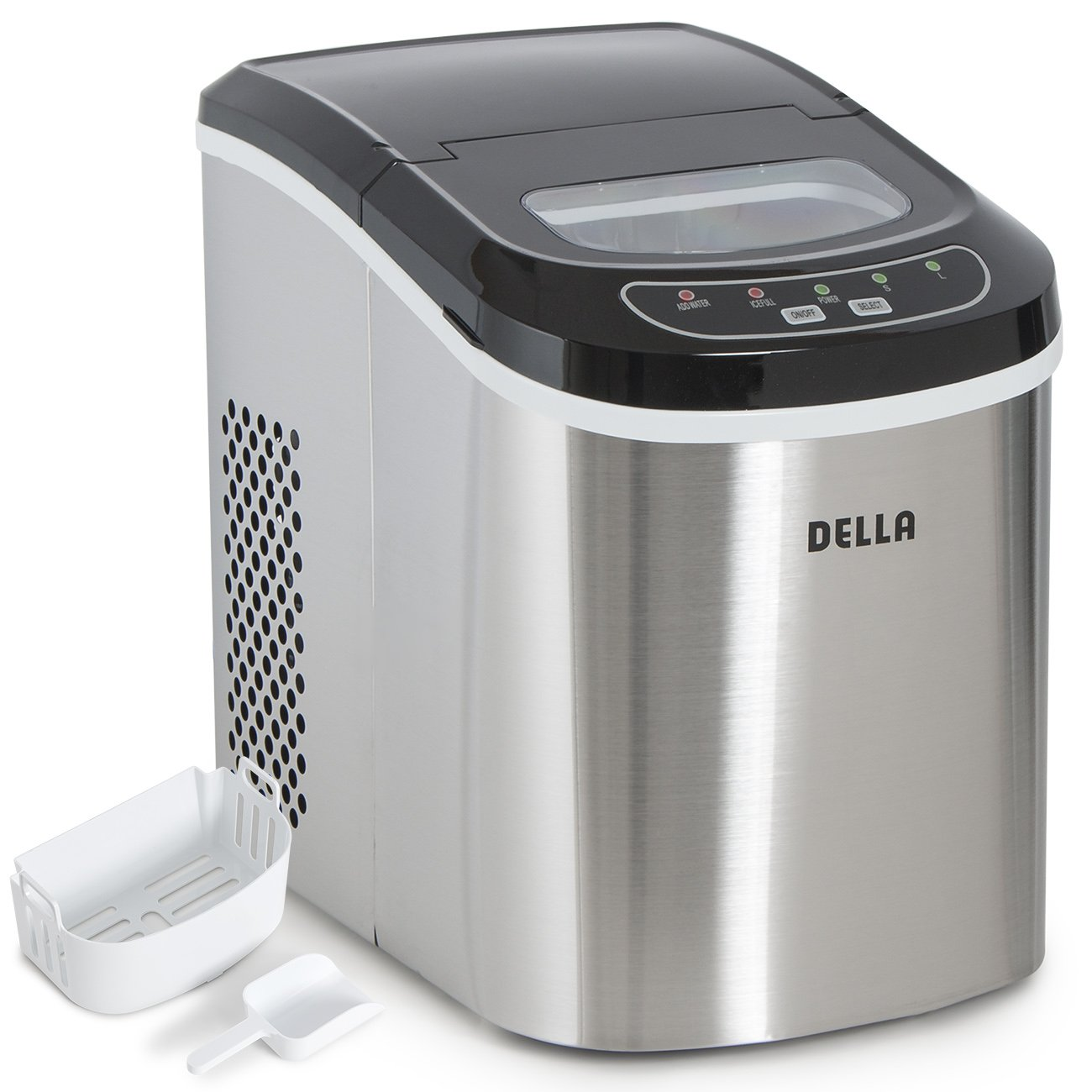 DELLA Electric Ice Maker Machine Portable Automatic Icemaker 26lbs per day 2-Selectable Ice Cube, Stainless Steel