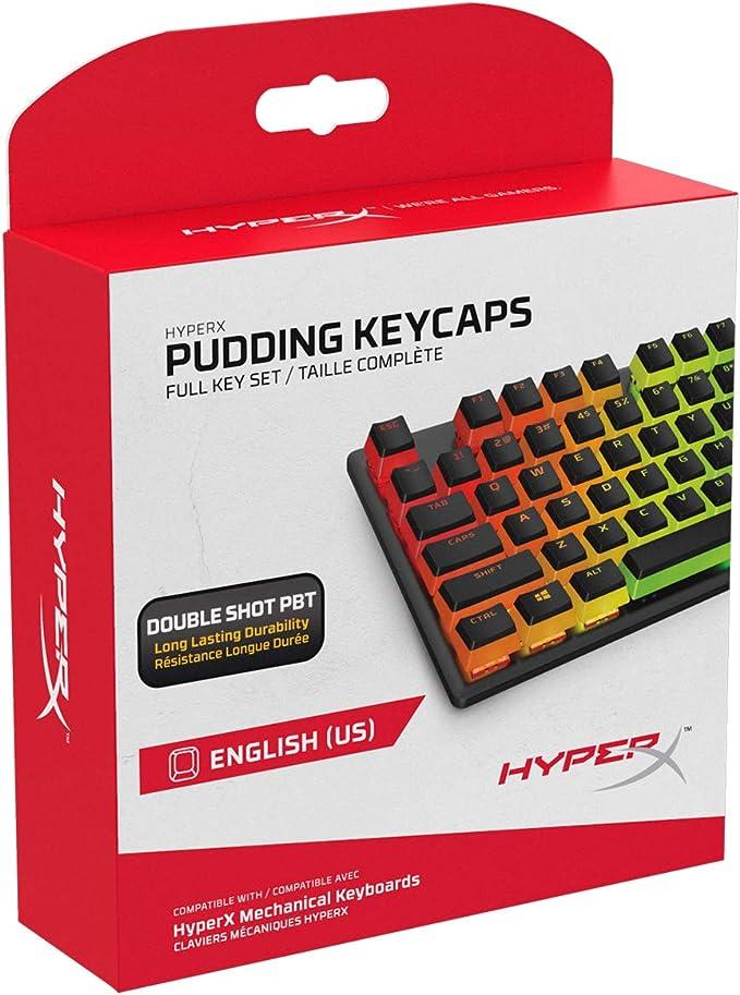 Teclas HyperX Pudding Keycaps - Conjunto completo de teclas - PBT - {Negro} - Diseño inglés (EE. UU.) - 104 teclas, retroiluminado, perfil OEM