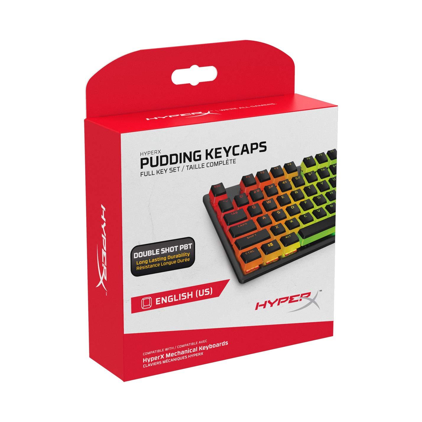 HyperX Pudding Keycaps - Double Shot PBT Keycap Set with Translucent Layer, for Mechanical Keyboards, Full 104 Key Set, OEM Profile, English (US) Layout - Black