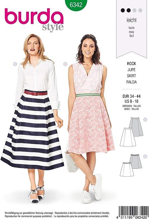 Burda 6342 - Patrón de Costura para Falda de Plato de Mujer ...