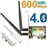 Wireless PCIe WiFi Card | 802.11N AP Technology 600Mbps Bluetooth Card | WLAN WiFi Adapter with Bluetooth 4.0 Ubit WAE3422 Dual-band 5GHz/2.4GHz | PCI-E Bluetooth Card for Desktop PC
