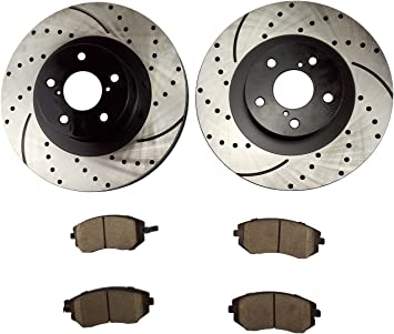 Fit 2002 Subaru Legacy Front PSport Drilled Brake Rotors Ceramic Brake Pads