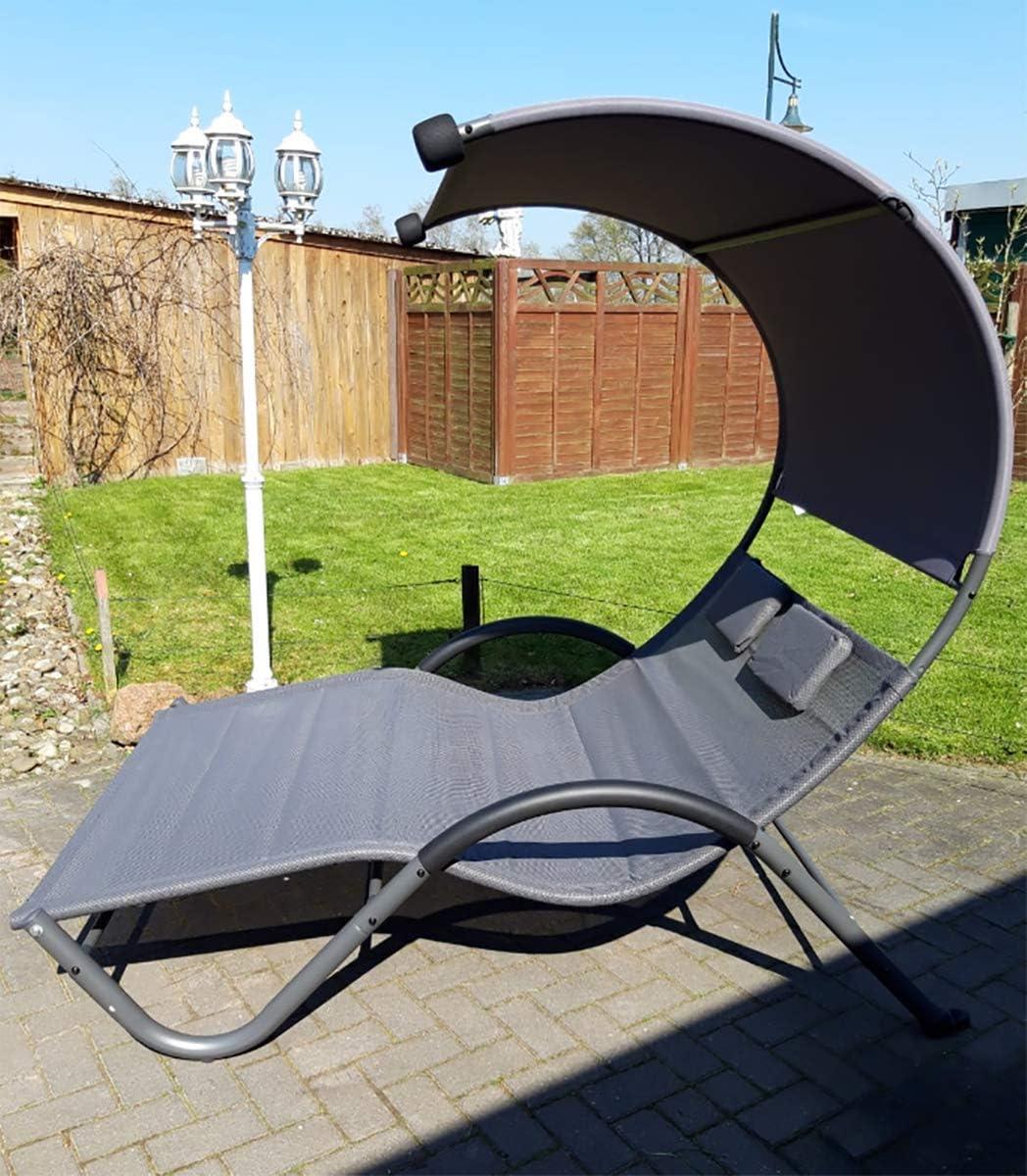 Doppelliege Gartenliege Sonnenliege mit Dach Relaxliege für 2 Personen max.220kg