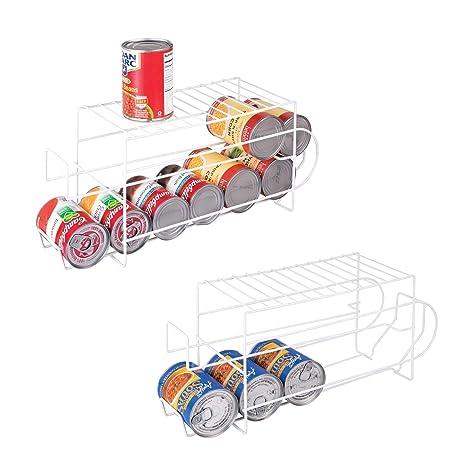mDesign Juego de 2 organizadores de frigorífico para alimentos – Moderno organizador de cocina para latas
