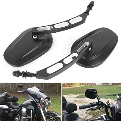8mm Black Motorcycle Rearview Side Mirror Hollow styling for Harley Bobber Cruiser Custom MT: Automotive