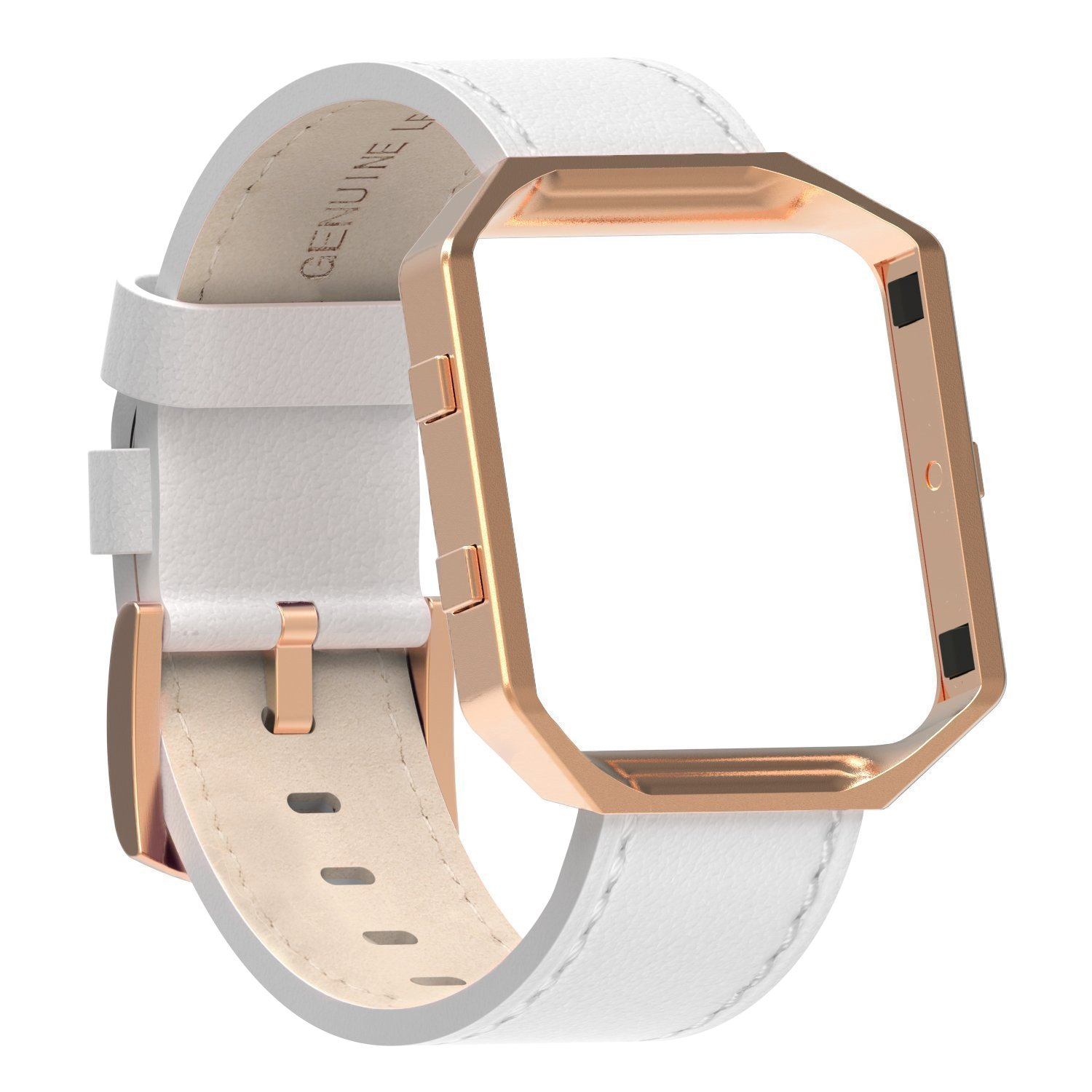 Austrake For Fitbit Blaze Bands Leather with Frame Large(6.7''-8.3''), Fitbit Blaze Band with Stainless Steel Buckle for Women Men