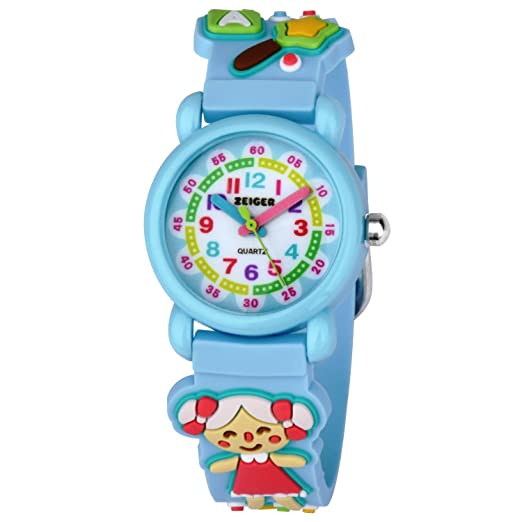 Zeiger Watches for Girls Time Teacher Watch Kids Children Easy Read Analog Wrist Watch with Lovely