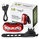 LE USB CREE LED Super Bright Bike Rear Tail Light IPX4 Waterproof 5 Lighting Modes Red Safety Cycling Light - Fits on any Bicycles Helmet Backpack