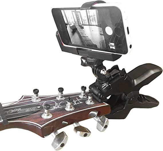 Guitar Headstock Cell Phone Clamp Clip Mount for Smartphones and Gopro Action Cameras ~ Close Up Home Music Recording - Also Work for Any Microphone Stand or Music Tripods