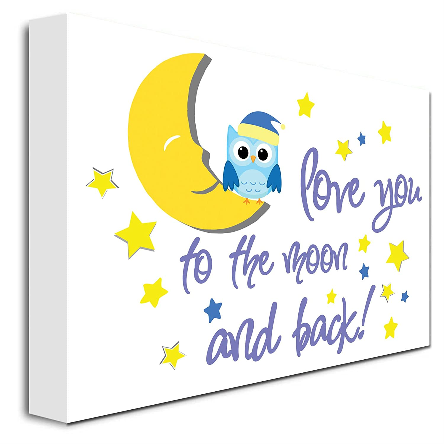 Amazon.com: FRAMED CANVAS Owl love you to the moon and back cute ...