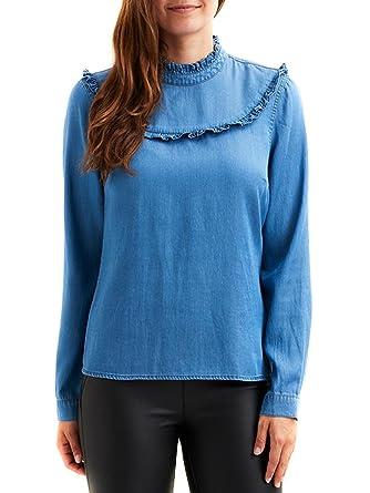 95282fca41a Shirt Vila Vibista L   S Blue Ruffle Denim S Blue  Amazon.co.uk  Clothing