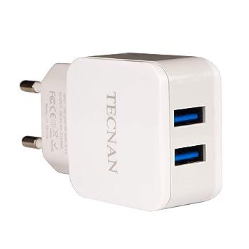 tecnan Fuente de alimentación Cargador 2 Puertos USB Enchufe ...