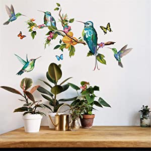 Nature Tree Branch with Flying Garden Song Birds Wall Art Decals Window Stickers Vinyl Girl Kids Decor Decoration Murals Painting for Living Room Bedroom Office Kitchen Home School Classroom for Party