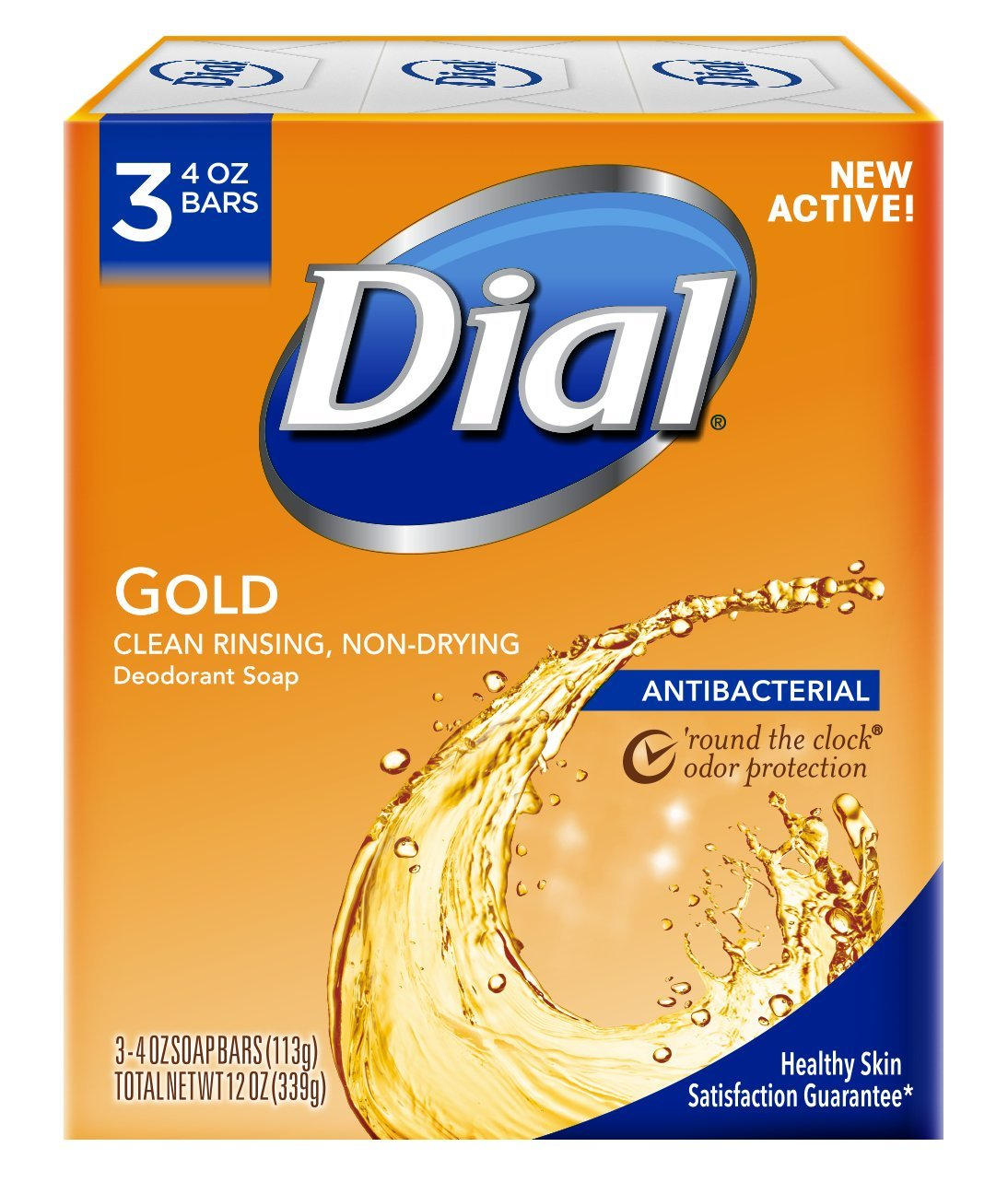 Dial Antibacterial Deodorant Soap, Gold, 4 Ounce (Pack of 3)