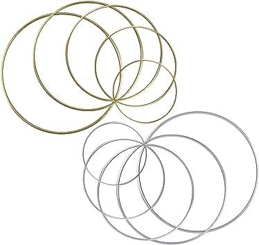 nouveau pas cher sélectionner pour officiel modèles à la mode BronaGrand Cercle Nu en Métal 10 Pièces Bague en Métal Anneaux Cercles  Métalliques pour Capteur de Rêves, 5 Tailles (Dia :  5cm/7.5cm/10cm/13cm/15cm)