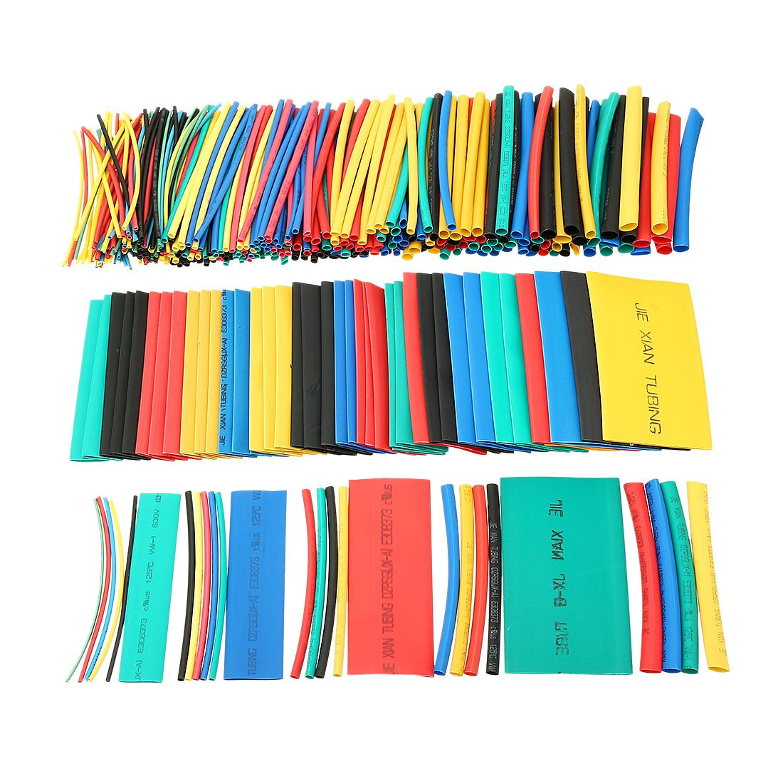 uxcell 410Pcs 2:1 Heat Shrink Tubing Tube Sleeving Wire Cable 5 Color 10 Sizes by uxcell (Image #1)