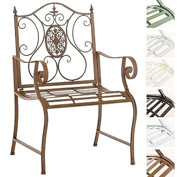CLP Chaise de Jardin Punjab I Chaise de Jardin en Fer Forgé avec Accoudoirs  Design Romantique Style Antique I Chaise de Jardin Terrasse ou Balcon I ...