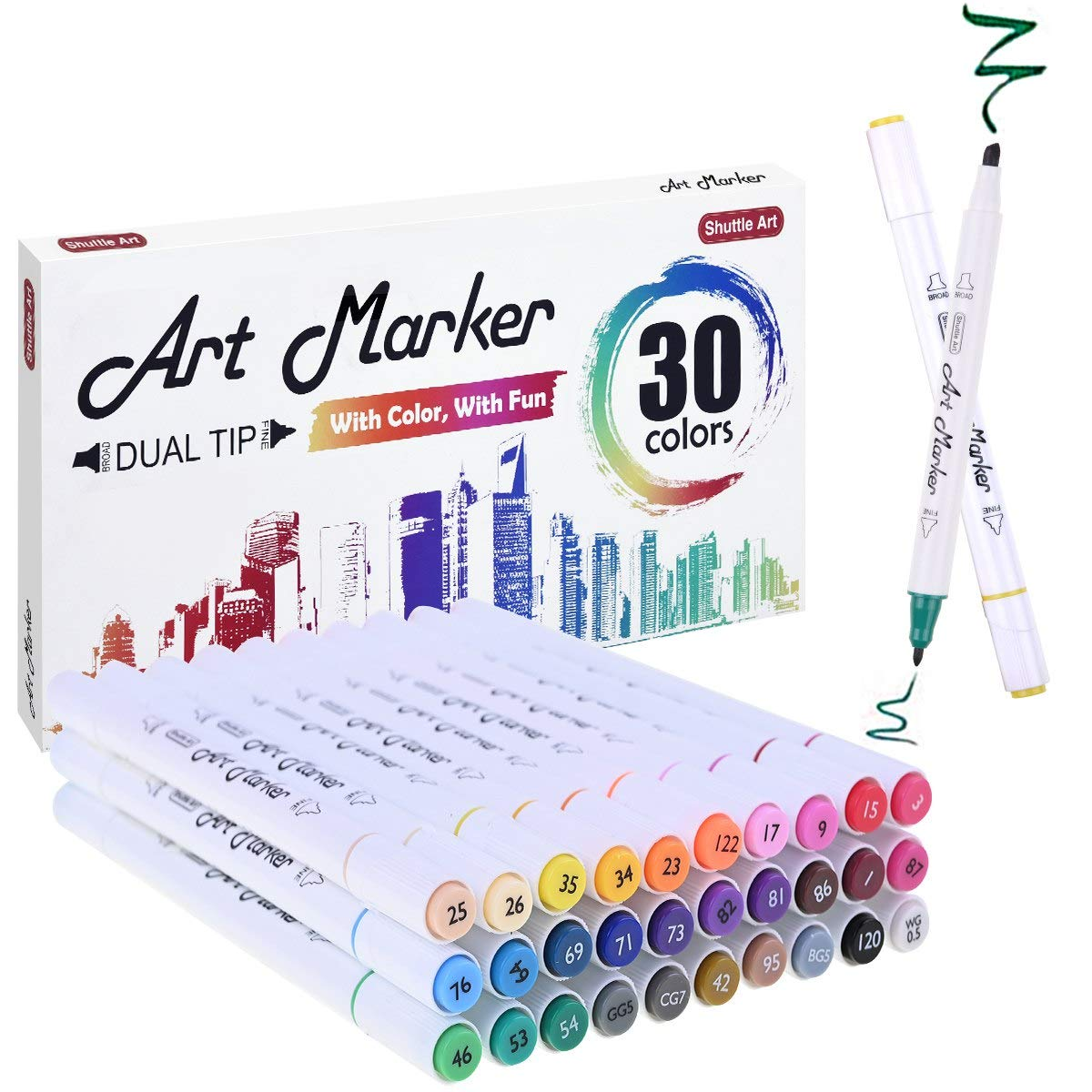 30 Colors Dual Tip Alcohol Based Art Markers,Shuttle Art Alcohol Marker Pens Perfect for Kids Adult Coloring Books Sketching and Card Making by Shuttle Art