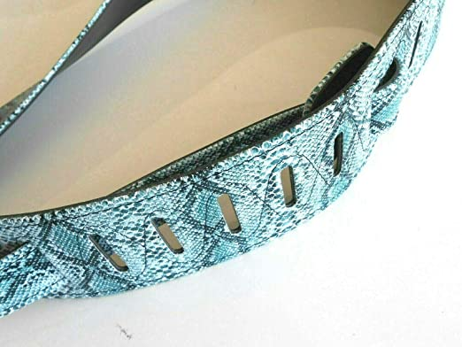 Perris 2 Sky Blue and Gold Metallic Snake Skin Leather Guitar Strap with Premium Suede Backing 44.5 to 53 P20SK-7000
