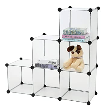 House of Quirk DIY Bookcase Media Storage Standing Shelf 6 Cubes Cabinet (Semitransparent)