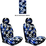 Blue Hawaiian Hawaii Aloha Print with White Hibiscus Flowers Wild Series 2PC Car Truck SUV Auto Head Rest Covers with Front Seat Low Back Bucket Seat Covers - PAIR